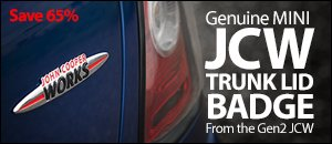 Genuine MINI JCW Trunk Lid Badge - Gen2 Design