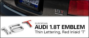 European Audi 1.8T Emblem - Thin Letters, Red Inlaid T
