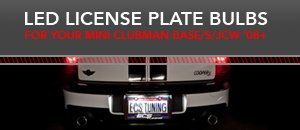 LED License Plate Bulbs - MINI R55 Base/S/JCW
