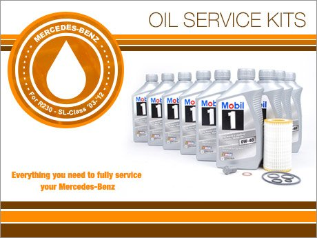 Ecs news mercedes benz r230 sl class oil service kits for Mercedes benz oil change service